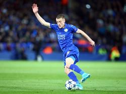 Jamie Vardy in actie tijdens het Champions League-duel Leicester City - Atlético Madrid (18-04-2017).