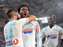 Michy Batshuayi (Mitte) ist momentan Marseilles Lichtblick