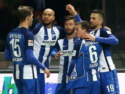 Hertha BSC feiert den Heimsieg gegen Eintracht Frankfurt