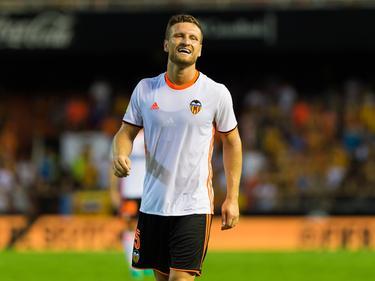Shkodran Mustafi kan lachen tijdens het competitieduel Valencia - Las Palmas (22-08-2016).