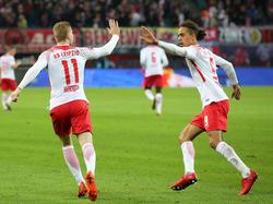 Timo Werner (l.) erzielte für Leipzig den Siegtreffer gegen H96