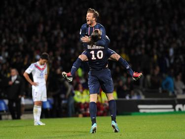 Beckham celebrando el título de la Ligue 1 con Ibrahimovic. (Foto: Getty)