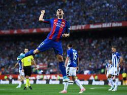 Alcácer celebra su gol en la final de Copa del Rey. (Foto: Getty)