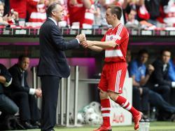 Hitzfeld (l.) war Riberys (r.) erster Bayern-Coach