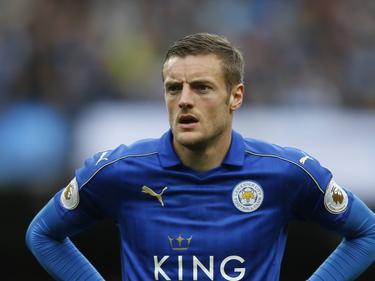 Jamie Vardy is gefocust tijdens het competitieduel Manchester City - Leicester City (13-05-2017).
