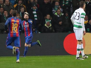 Messi (Mitte) glänzte mit dem FC Barcelona gegen Celtic