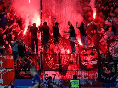 Im Fanblock von Spartak brannte es lichterloh