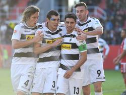 Die Gladbacher Vestergaard, Christensen, Stindl und Drmić bejubeln das 1:0 ihrer Mannschaft gegen den FC Ingolstadt