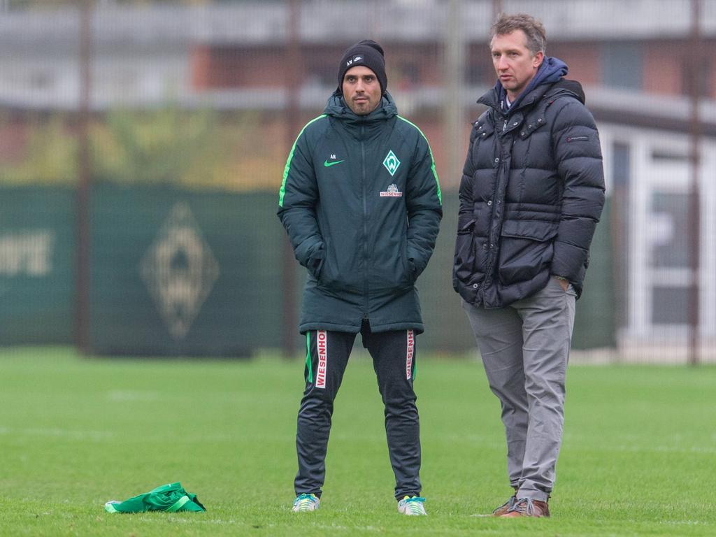 Nouri (l.) und Baumann erwarten gegen Freiburg einen Sieg