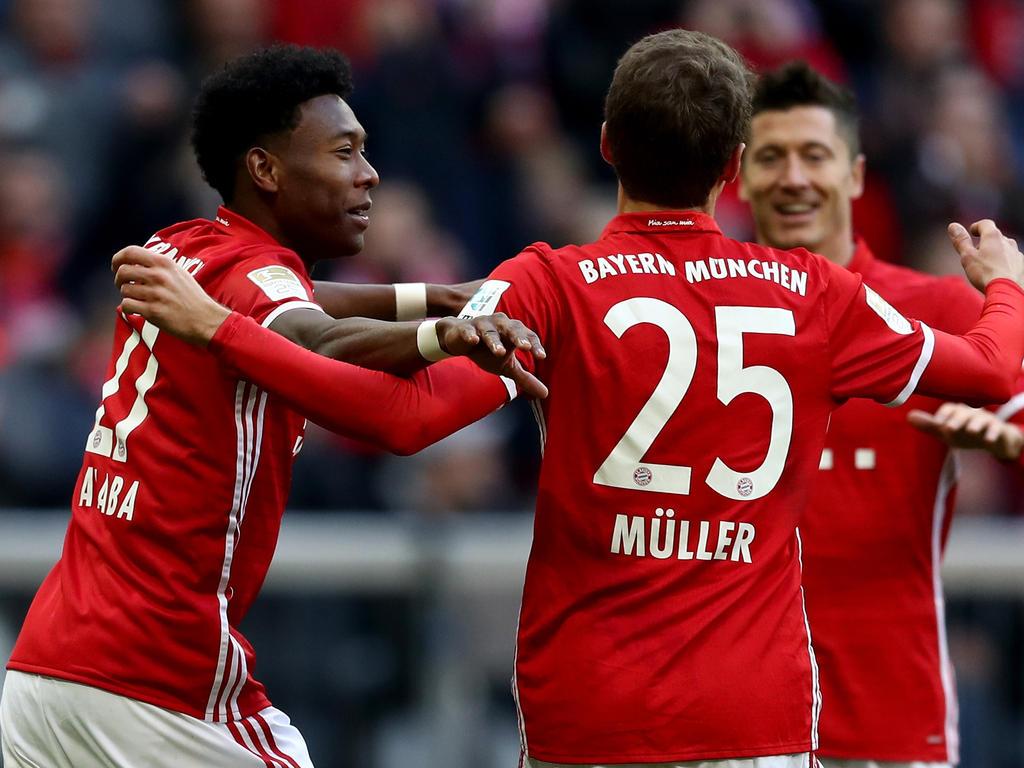 Alaba (l.), Müller (M.) und Lewandowski verpassten dem Hamburger SV eine Lektion