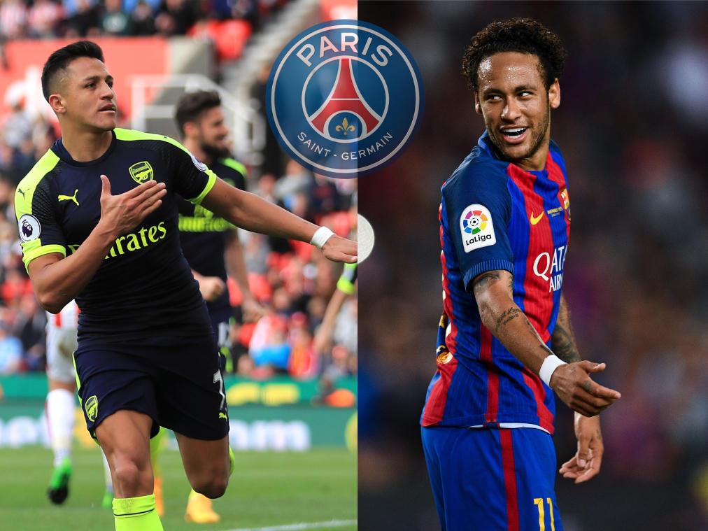 Alexis Sánchez (l.) und Neymar stehen angeblich vor einem Wechsel nach Paris