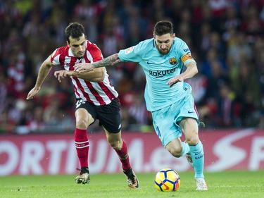 Lionel Messi (r.) erzielte das wichtige 1:0 für den FC Barcelona