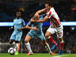 Kein Durchkommen: Manchester City muss sich gegen Stoke mit einem Remis begnügen