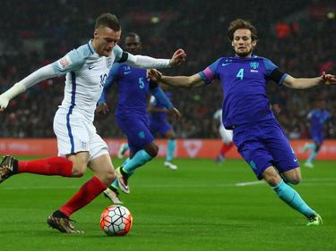 Jamie Vardy (l.) traf für England