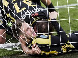 Ricky van Wolfswinkel is de gevierde man tijdens de Bekerfinale tussen AZ en Vitesse. De spits maakt twee treffers en bezorgt Vitesse de KNVB-Beker. (30-04-2017)