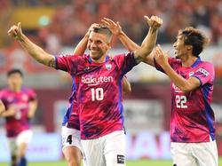 Lukas Podolski hat für Vissel Kobe den Treffer zum 2:0 gegen Albirex Niigata erzielt