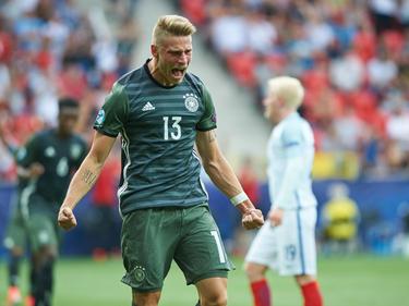 Pure Freude bei Felix Platte nach seinem Ausgleichstreffer gegen England