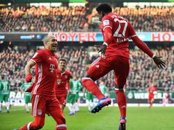Arjen Robben und David Alaba stehen dem FC Bayern in Chemnitz zur Verfügung