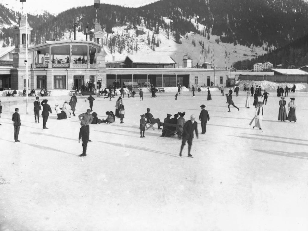 Die Natureisbahn in Davos - hier im Jahr 1908 - schließt nach 126 Jahren