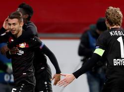 Leverkusens Vladen Yurchenko (l.). jubelt im Champions-League-Spiel gegen Monaco über seinen Treffer zum 1:0 (.7.12.2016.).