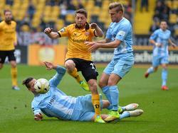 Andreas Lambertz und Dynamo Dresden kassierten gegen die Kickers einen kleinen Rückschlag