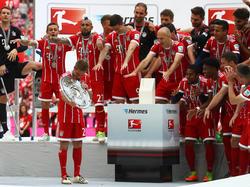 Mitten im Feier-Trubel dachten die Bayern schon wieder an die neue Saison