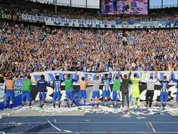 Die Berliner feierten ihren Erfolg mit ihren Fans