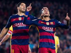 Luis Suárez (l.) und Neymar erzielten fünf der sechs Barça-Treffer
