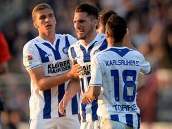 Dimitrios Diamantakos (M.) trifft gegen den SV Sandhausen doppelt