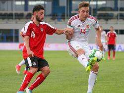 Rami Tekir (links) beim ÖFB-U21-Länderspiel gegen Ungarn