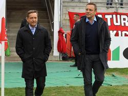 Heldt (l.) und Breitenreiter treffen mit H96 auf Eintracht Braunschweig