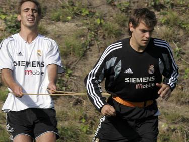Jonathan Woodgate (dcha.) en un entreno con el Real Madrid. (Foto: Getty)