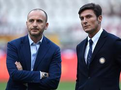 Inter-Manager Piero Ausilio (l.) mit Vereinslegende Javier Zanetti