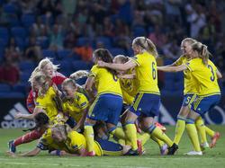 Die Schwedinnen sind nach dem gewonnenen Elfmeterschießen nicht zu halten