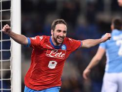 Napoli-Torjäger Gonzalo Higuaín durfte auch gegen Lazio jubeln