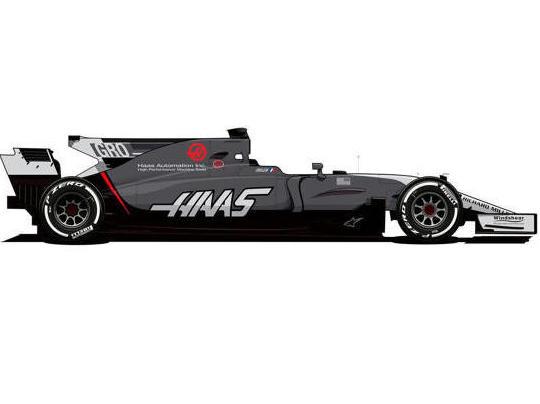 Haas VF-17 in der Zeichnung: Eine Revolution ist das Farbschema nicht