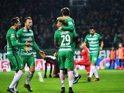 Die SVW-Profis bejubeln den Führungstreffer von Fin Bartels gegen den FC Ingolstadt