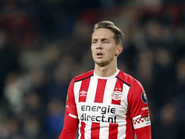 Luuk de Jong is gefocust tijdens het competitieduel PSV - NEC Nijmegen (18-02-2017).