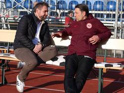 Trainer unter sich: Bernd Hollerbach und Niko Kovač im Gespräch