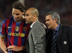 Ein Bild aus besseren Tagen: Zlatan Ibrahimović, Pep Guardiola und José Mourinho