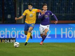 Marcel Correia und die Eintracht aus Braunschweig kamen gegen Simon Skarlatidis und Aue nicht über ein 1:1 hinaus
