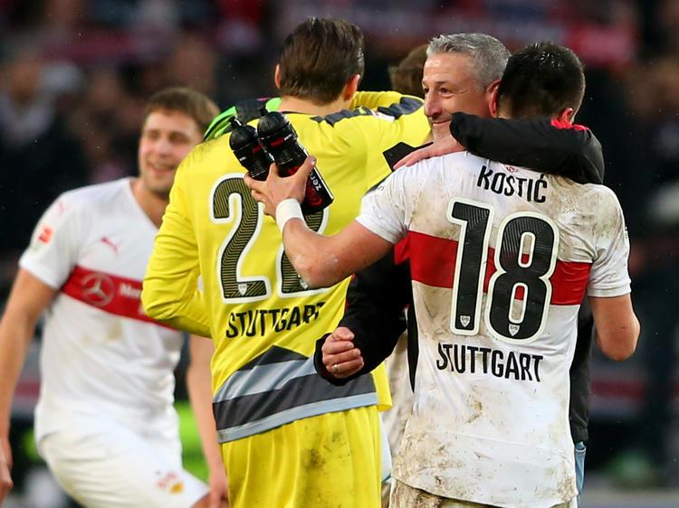 Jubel beim VfB Stuttgart über den fünften Sieg in Serie
