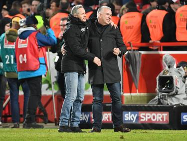 Ein Bild aus besseren Tagen: Union-Präsident Dirk Zingler (r.) und Ex-Trainer Jens Keller