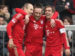 Robben, Ribéry und Lahm (v.l.) spielen seit sieben Jahren gemeinsam für die Bayern