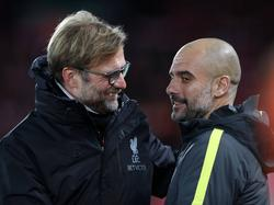 Guardiola y Klopp se enfrentan el domingo. (Foto: Getty)