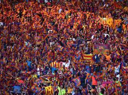 Aficionados del FC Barcelona apoyando a su equipo en Berlín. (Foto: Getty)