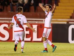 Camilo Mayada (dcha.) celebra un gol con River Plate. (Foto: Imago)