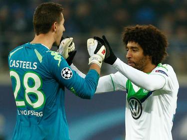 Zufriedenheit auch bei Wolfsburgs Koen Casteels (l.) und Dante