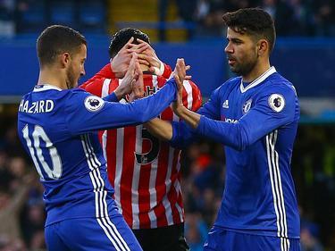 Hazard y Costa celebran el primer gol del encuentro. (Foto: Imago)