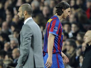 Zlatan Ibrahimovic (r.) kam mit Pep Guardiola nicht zurecht